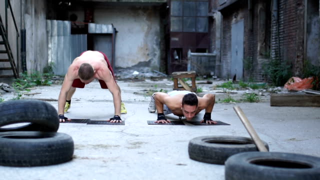 Push-ups outdoors