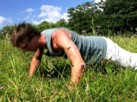 pal: push-up - allenamento a corpo libero video stock e b–roll