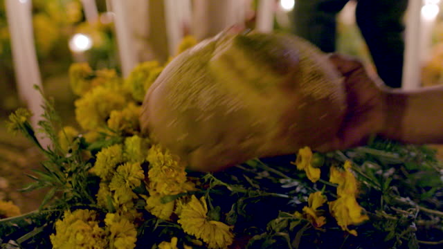 putting food down on the day of the dead / mexico - tomb stock videos & royalty-free footage