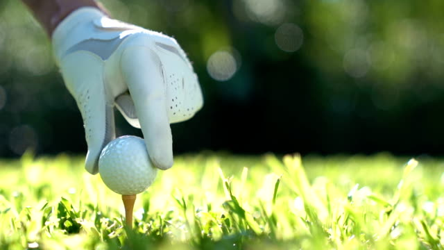 putting golf ball on green grass - slow motion - putting green stock videos & royalty-free footage