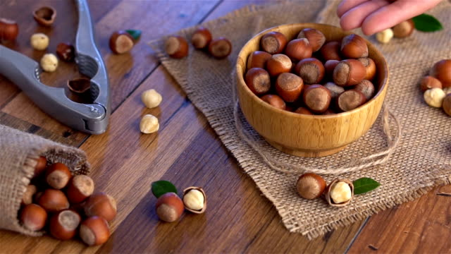 putting hazelnuts into the bowl. slow motion - nutshell stock videos & royalty-free footage