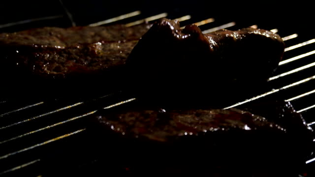 slo mo putting meat on the grill - brisket stock videos and b-roll footage