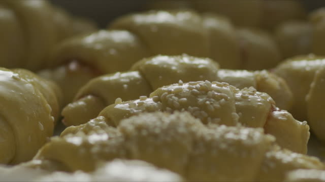 putting sesame seeds on raw croissant - stock video - cream cake stock videos & royalty-free footage