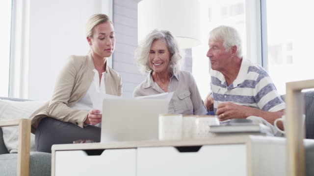 putting their retirement plan into better perspective - retirement stock videos & royalty-free footage