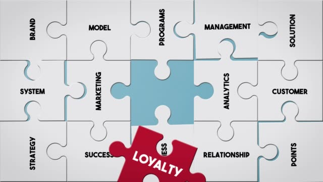 puzzle piece creating loyalty concept - loyalty stock videos & royalty-free footage