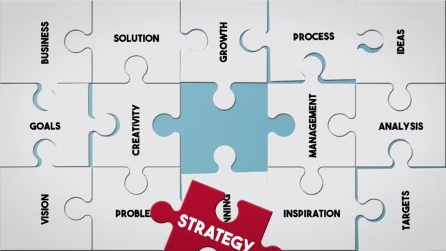 puzzle piece creating strategy concept - strategy stock videos & royalty-free footage