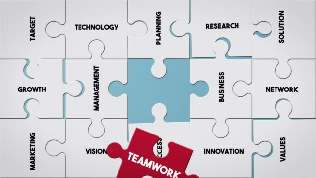 puzzle piece creating teamwork concept - strategy stock videos & royalty-free footage