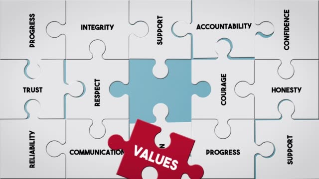 puzzle piece creating values concept - business strategy stock videos & royalty-free footage