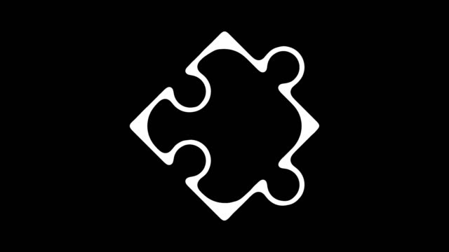 Puzzle Solution Line Icon Animation with Alpha