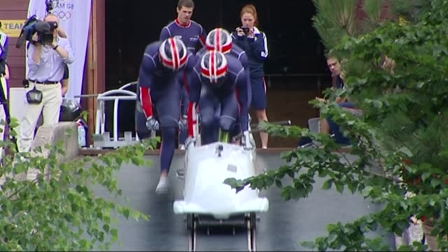 team gb hopes lib / 982013 bath ext team gb men's bobsleigh team training end lib - bobsleighing stock videos & royalty-free footage