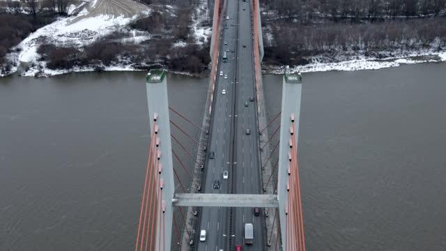 pylon bridge from above - groß stock-videos und b-roll-filmmaterial