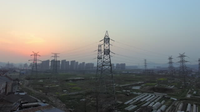 pylons,cityscape and skyline of hangzhou at twilight. 4k