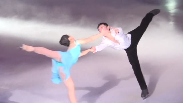 pyongyang holds its own figure skating festival on the same day north korea's olympic duo ryom tae ok and kim ju sik successfully reach the pairs... - figure skating stock videos & royalty-free footage