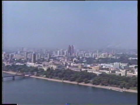 pyongyang skyline across taedong river; 1988 - pyongyang stock videos and b-roll footage