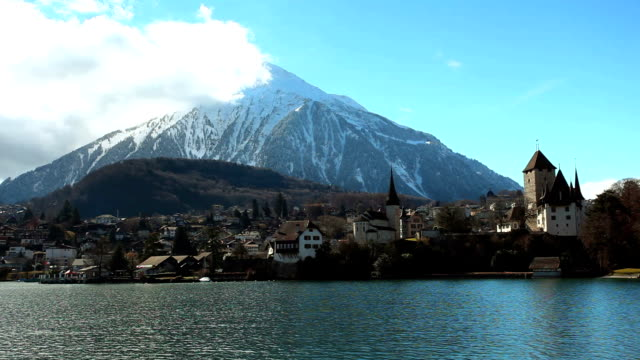 pyramid niesen and port spiez - lake thun stock videos and b-roll footage