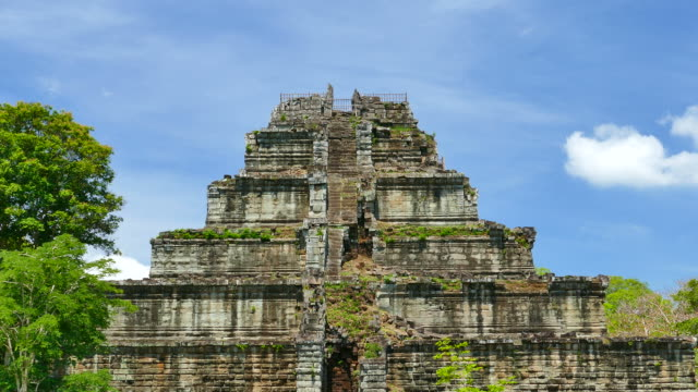 pyramid of angkor koh ker temple in cambodia - circa 13th century stock videos & royalty-free footage