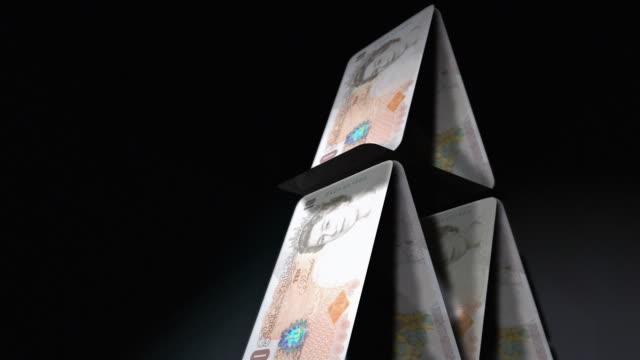 cgi, tu, cu, slo mo, pyramid of british pound notes, falling, studio shot  - british pound sterling note stock videos & royalty-free footage
