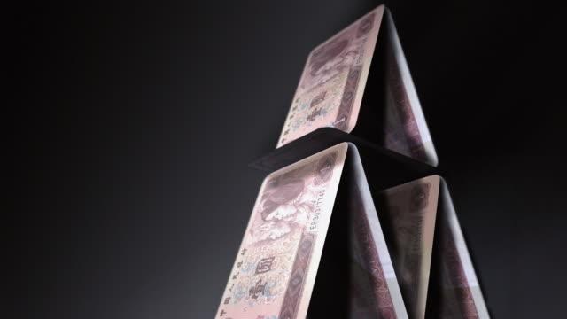 cgi, tu, cu, slo mo, pyramid of chinese yuan notes, falling, studio shot  - british pound sterling note stock videos & royalty-free footage