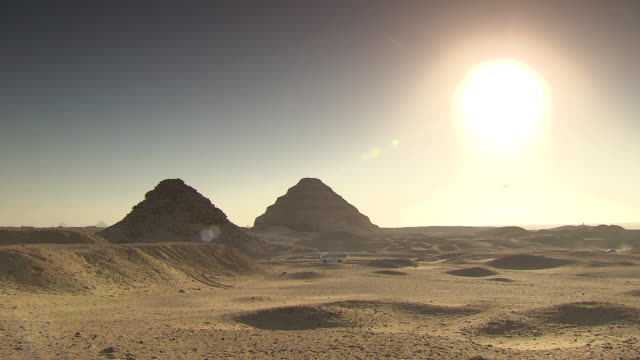 ws pyramid of djoser and sandy landscape / egypt - saqqara stock videos and b-roll footage