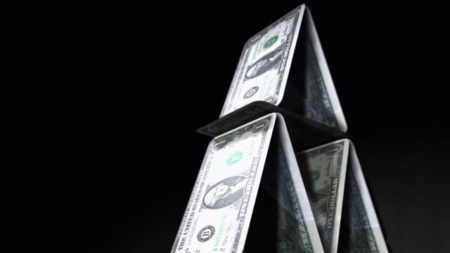 cgi, tu, cu, slo mo, pyramid of one dollar bills, falling, studio shot  - american one dollar bill stock videos & royalty-free footage