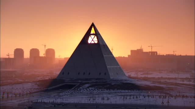 Pyramid of Peace at sunset. Available in HD.