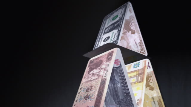 cgi, tu, cu, slo mo, pyramid of various currency banknotes, falling, studio shot  - british pound sterling note stock videos & royalty-free footage