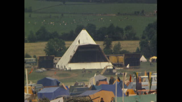 pyramid stage at 1981 glastonbury festival, on worthy farm, somerset, being erected - 1981 stock videos & royalty-free footage