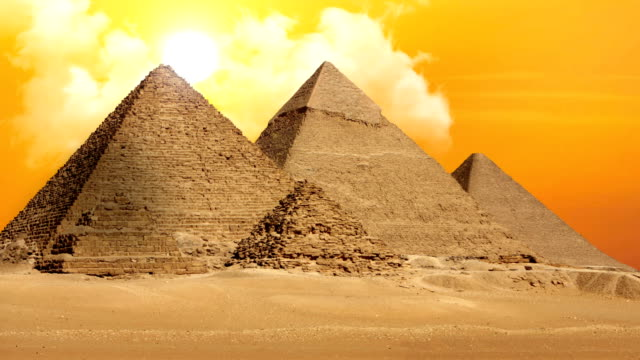 pyramids of giza valley necropolis - time lapse - pyramid stock videos and b-roll footage