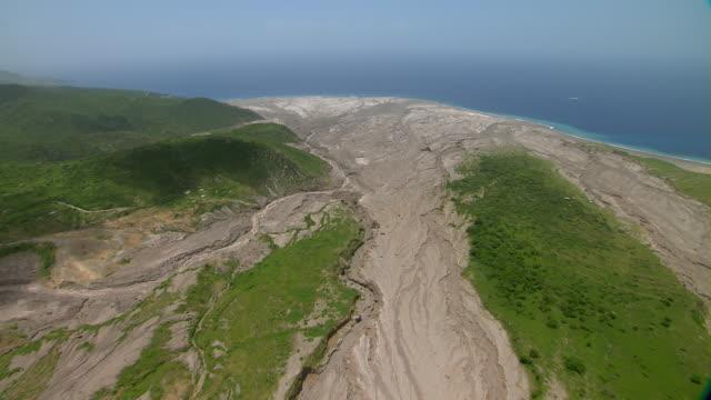 Pyroclastic volcanic flow on coastal Caribbean Island.