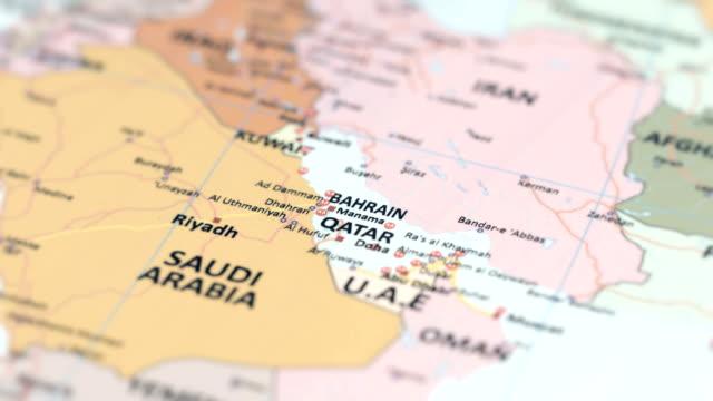 asia qatar, bahrain on world map - basra stock videos & royalty-free footage