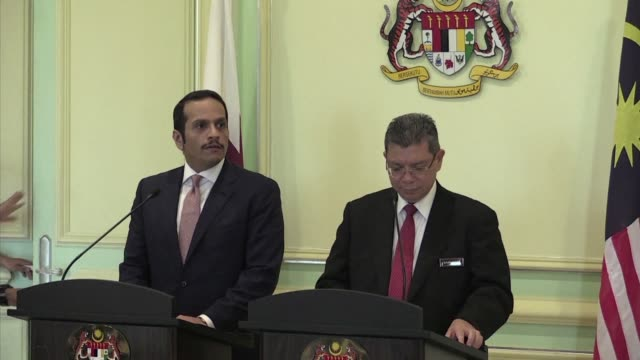 qatar deputy prime minister mohammed abdulrahman al thani and malaysian foreign minister saifuddin abdullah spoke about relations and cooperation... - putrajaya stock videos & royalty-free footage