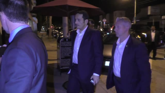 qatar foreign minister sheikh mohammed bin abdulrahman bin jassim al thani meets with thomas j barrack jr for dinner at craig's restaurant in los... - government minister stock videos & royalty-free footage