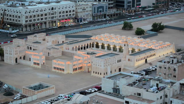 qatar, middle east, arabian peninsula, doha, elevated view over a mosque - mosque stock videos & royalty-free footage