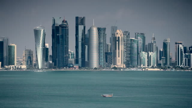 qatar, middle east, arabian peninsula, doha, new skyline of the west bay central financial district of doha - doha stock videos & royalty-free footage