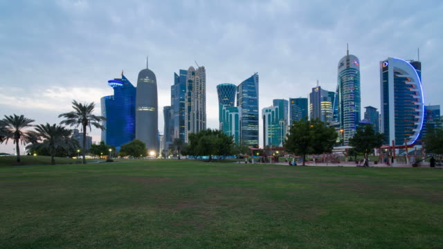 qatar, middle east, arabian peninsula, doha, new skyline of the west bay central financial district of doha - development stock videos & royalty-free footage