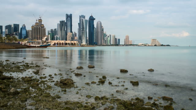 Qatar, Middle East, Arabian Peninsula, Doha, new skyline of the West Bay central financial district of Doha