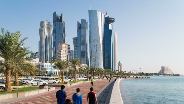qatar, middle east, arabian peninsula, doha, new skyline of the west bay central financial district of doha - qatar stock videos & royalty-free footage