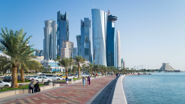 qatar, middle east, arabian peninsula, doha, new skyline of the west bay central financial district of doha - doha bildbanksvideor och videomaterial från bakom kulisserna