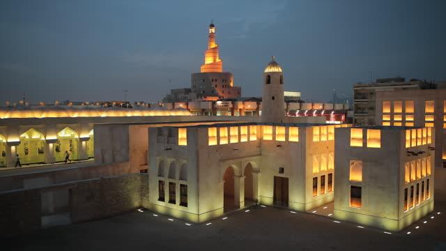 qatar, middle east, arabian peninsula, doha, the spiral mosque of the kassem darwish fakhroo islamic centre in doha - ad dawhah stock-videos und b-roll-filmmaterial