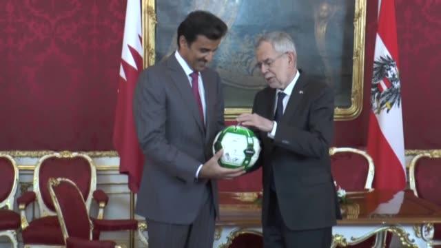 qatari emir sheikh tamim bin hamad al thani meets with austrian president alexander van der bellen in vienna austria on march 05 2019 - austrian culture stock videos and b-roll footage