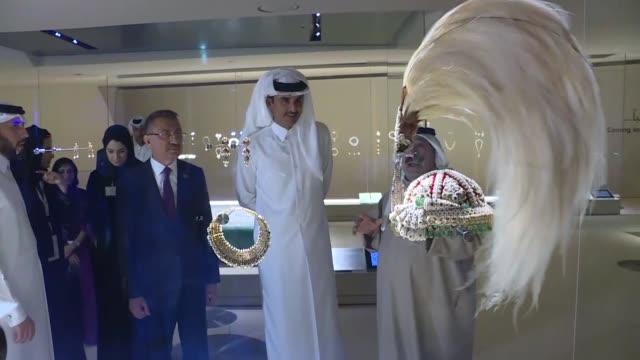 qatari emir sheikh tamim bin hamad al thani turkish vice president fuat oktay sheikha almayassa bint hamad bin khalifa althani and former french... - museum stock videos & royalty-free footage
