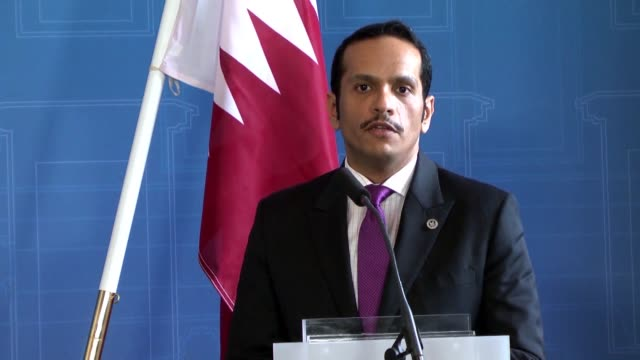 qatari foreign minister mohammed bin abdulrahman al-thani holds a joint press conference with his swedish counterpart margot wallstrom in stockholm,... - 2017 stock videos & royalty-free footage