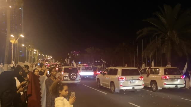 stockvideo's en b-roll-footage met qatari people celebrate their first asian cup championship after the final match against japan in 2019 asian cup final in abu dhabi in doha qatar on... - qatar