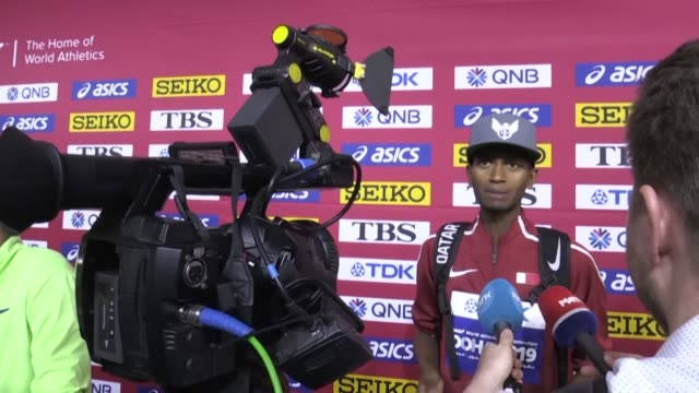 qatar's mutaz essa barshim received the personal congratulations of the country's emir after he sent the crowd wild by retaining his high jump title... - championships stock videos & royalty-free footage