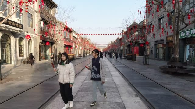 qianmen street, beijing, china - hanging stock videos & royalty-free footage