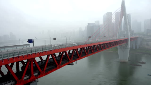 vídeos de stock e filmes b-roll de qiansimen bridge in chongqing,china. - tempo real