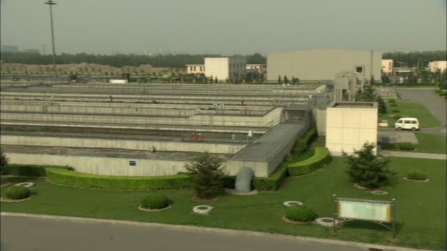 vidéos et rushes de ws ha pan qinghe sewage treatment plant, beijing, china - panoramique rapide