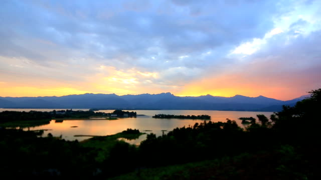 Qingshitan lake at dawn,lingchuan county,guilin,china