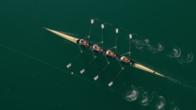 aerial quad scull gliding across a lake on a sunny day - competizione video stock e b–roll