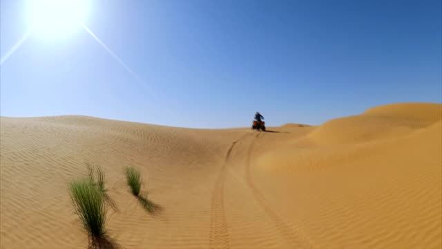 quad tour in sahara desert near ksar ghilane oasis , tunisia / africa - tunisia video stock e b–roll